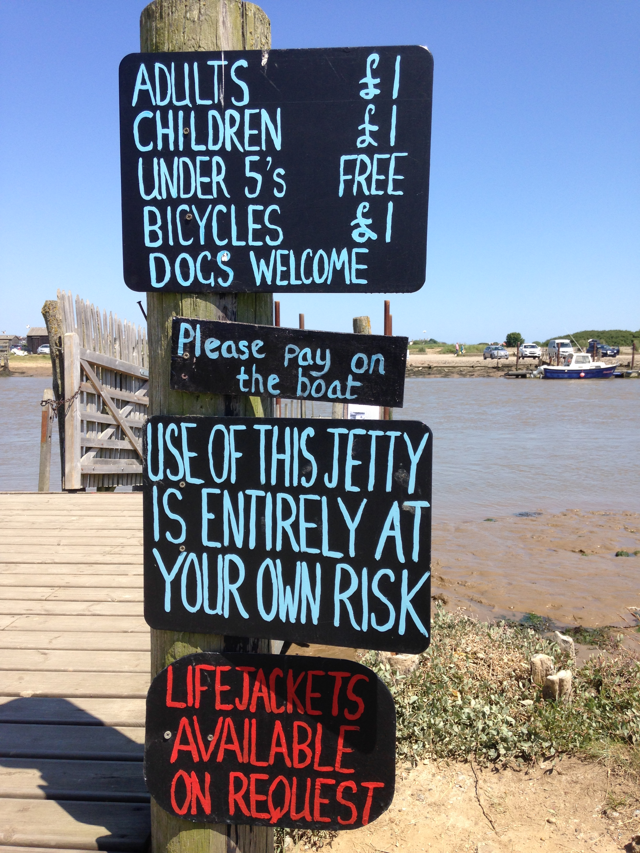 The sign for the Walberswick to Southwold ferry.